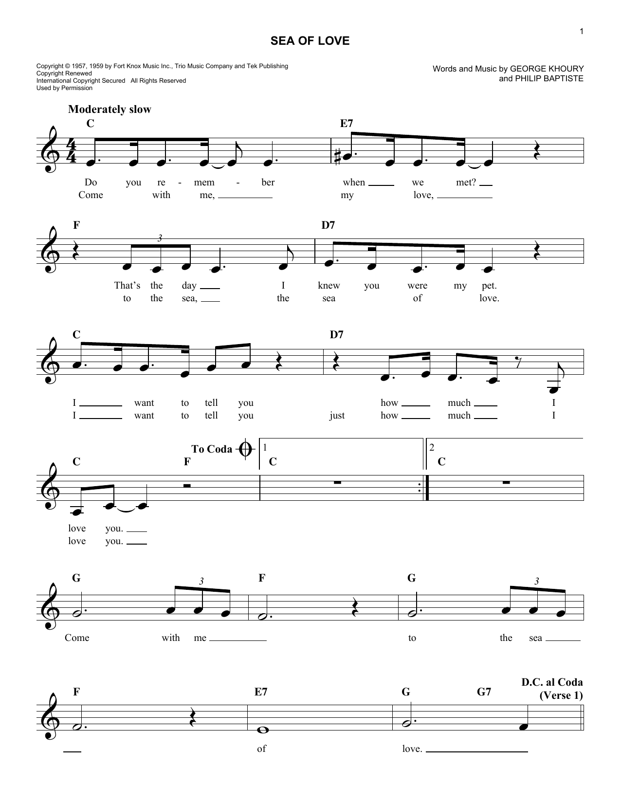 Phil Baptiste Sea Of Love sheet music notes and chords. Download Printable PDF.