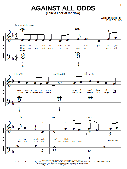 Phil Collins Against All Odds (Take A Look At Me Now) sheet music notes and chords. Download Printable PDF.