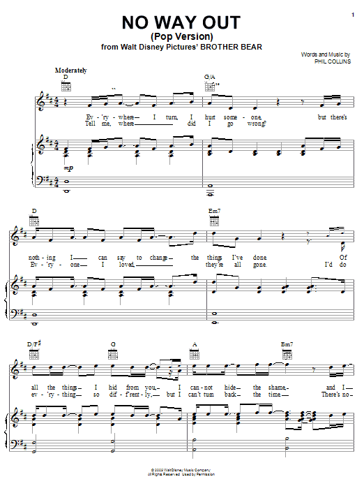 Phil Collins No Way Out (Pop Version) sheet music notes and chords. Download Printable PDF.