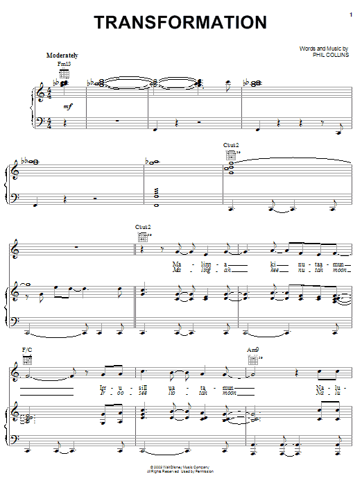 Phil Collins Transformation sheet music notes and chords