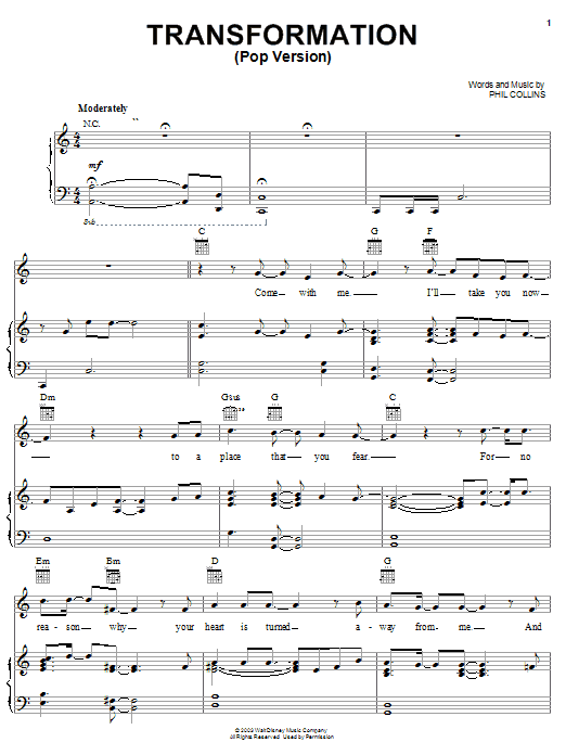 Phil Collins Transformation (Pop Version) sheet music notes and chords
