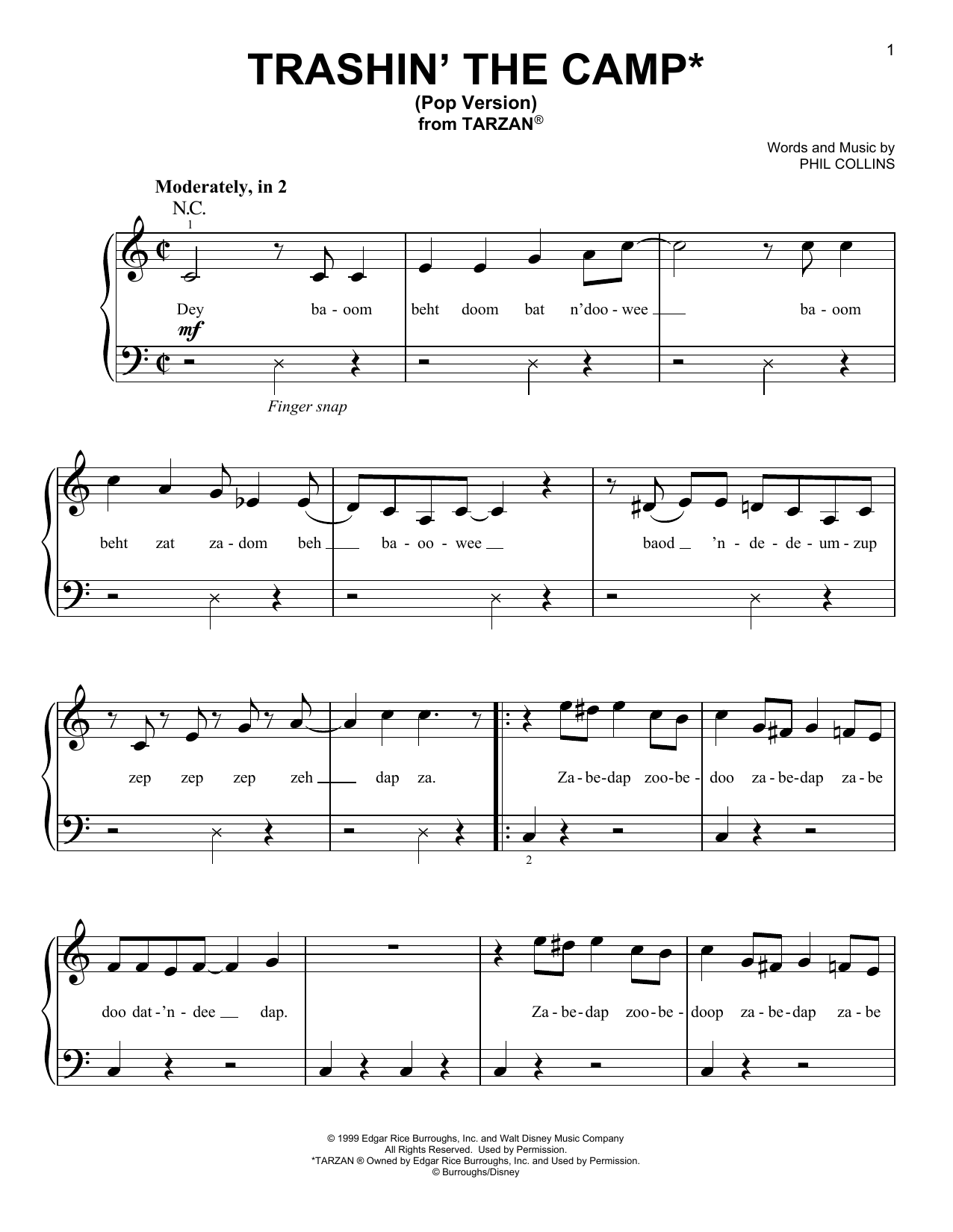 Phil Collins Trashin' The Camp (from Tarzan) (Pop Version) sheet music notes and chords. Download Printable PDF.