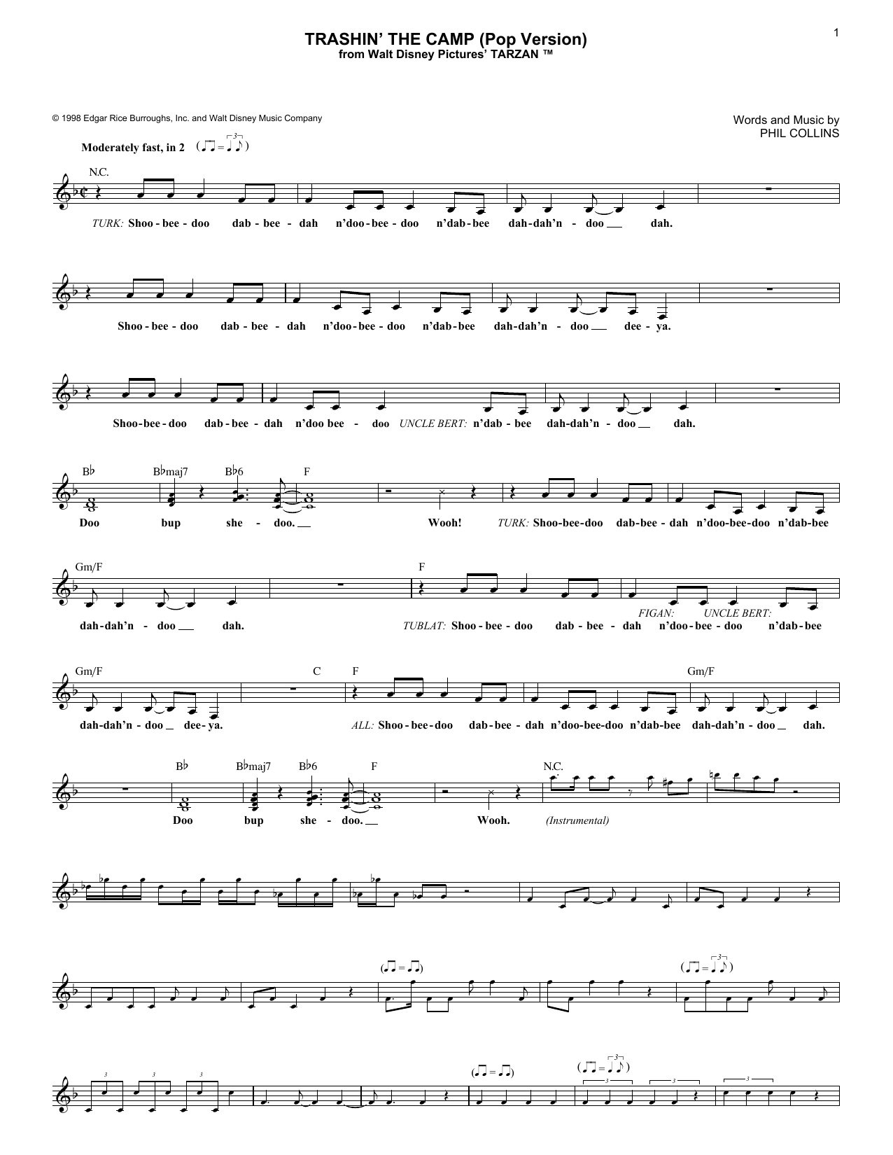 Phil Collins Trashin' The Camp (Pop Version) sheet music notes and chords. Download Printable PDF.