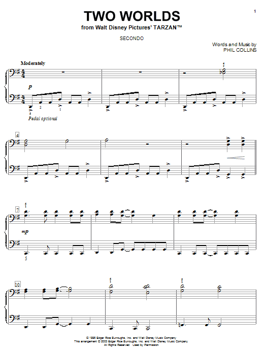 Phil Collins Two Worlds sheet music notes and chords. Download Printable PDF.