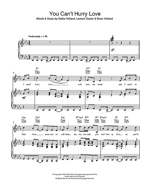 Phil Collins You Can't Hurry Love sheet music notes and chords. Download Printable PDF.