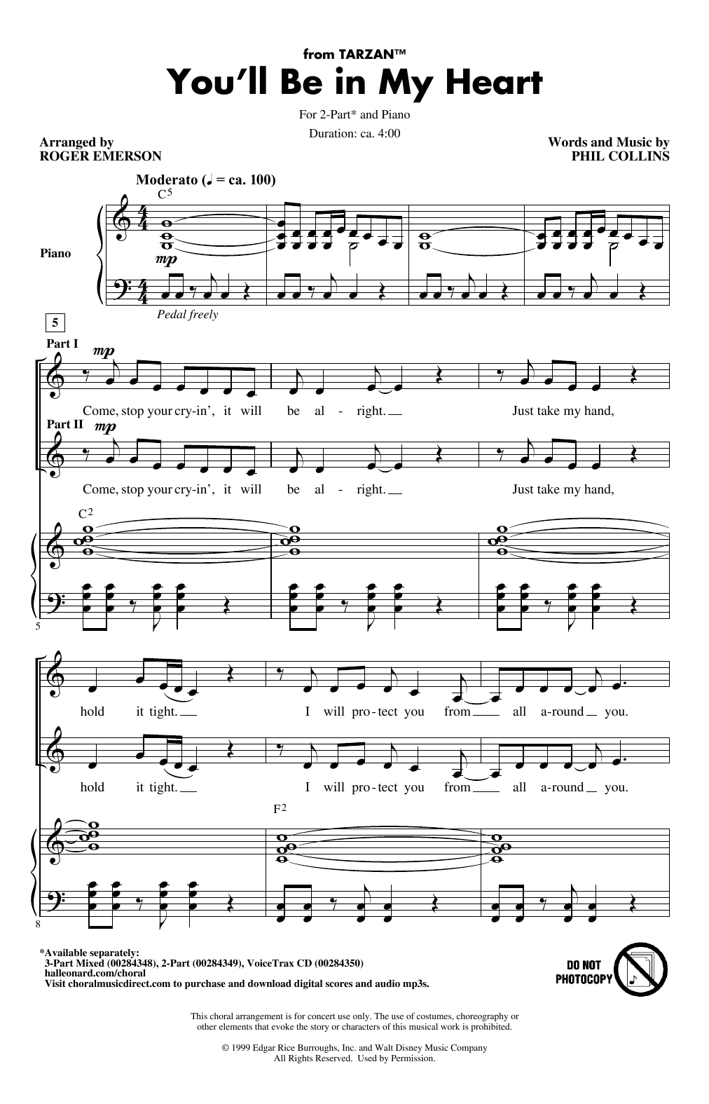 Phil Collins You'll Be In My Heart (from Tarzan) (arr. Roger Emerson) sheet music notes and chords