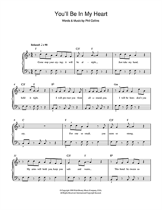 Phil Collins You'll Be In My Heart (from Walt Disney's Tarzan) sheet music notes and chords. Download Printable PDF.