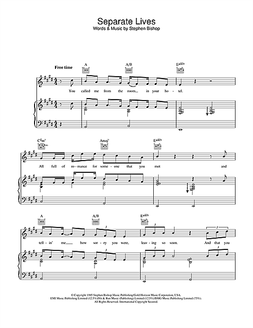 Phil Collins & Marilyn Martin Separate Lives sheet music notes and chords
