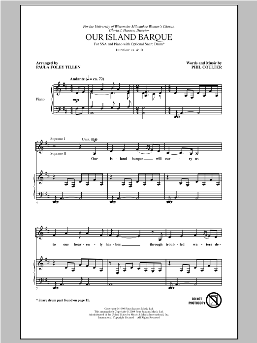 Phil Coulter Our Island Barque (arr. Paula Foley Tillen) sheet music notes and chords. Download Printable PDF.