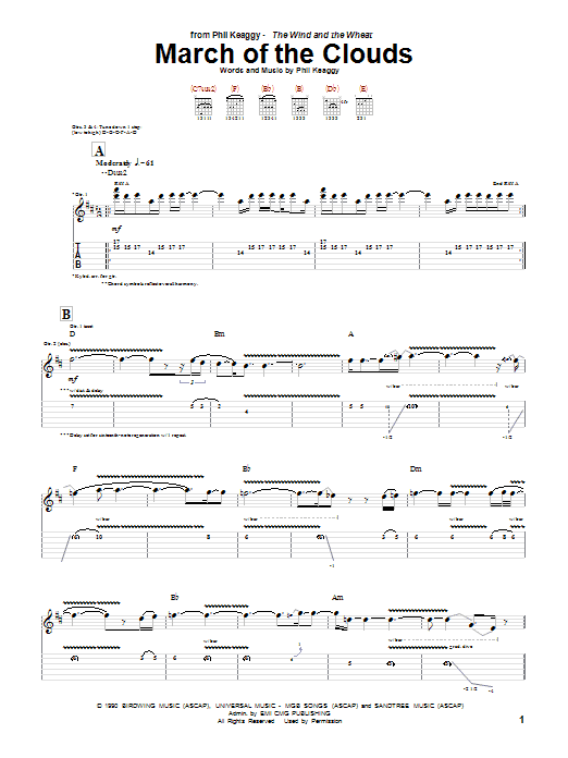 Phil Keaggy March Of The Clouds sheet music notes and chords. Download Printable PDF.