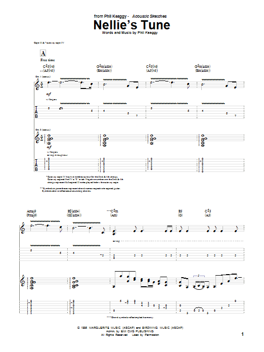 Phil Keaggy Nellie's Tune sheet music notes and chords. Download Printable PDF.