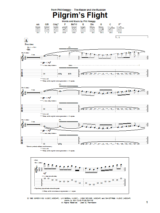 Phil Keaggy Pilgrim's Flight sheet music notes and chords. Download Printable PDF.