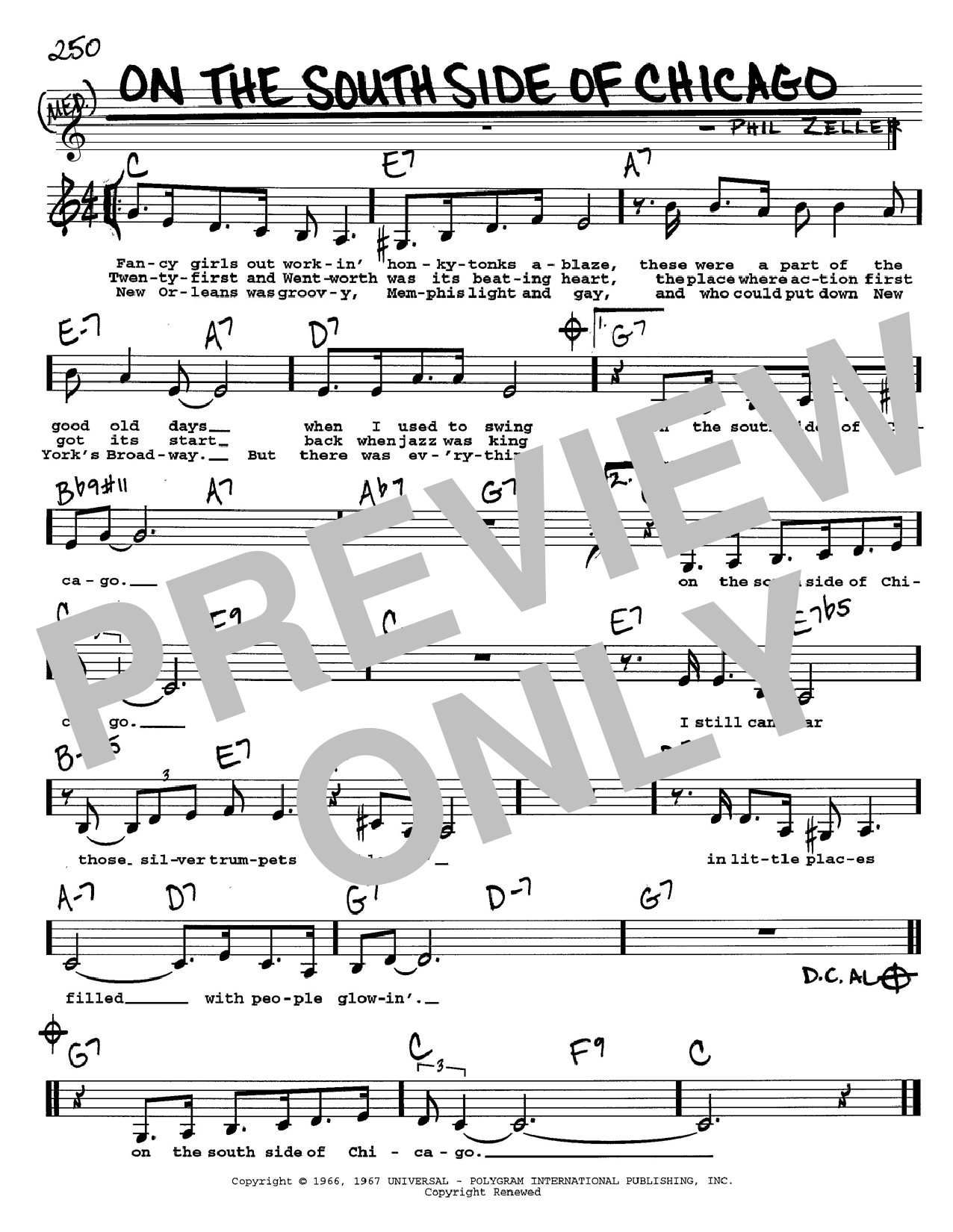 Phil Zeller On The South Side Of Chicago sheet music notes and chords. Download Printable PDF.