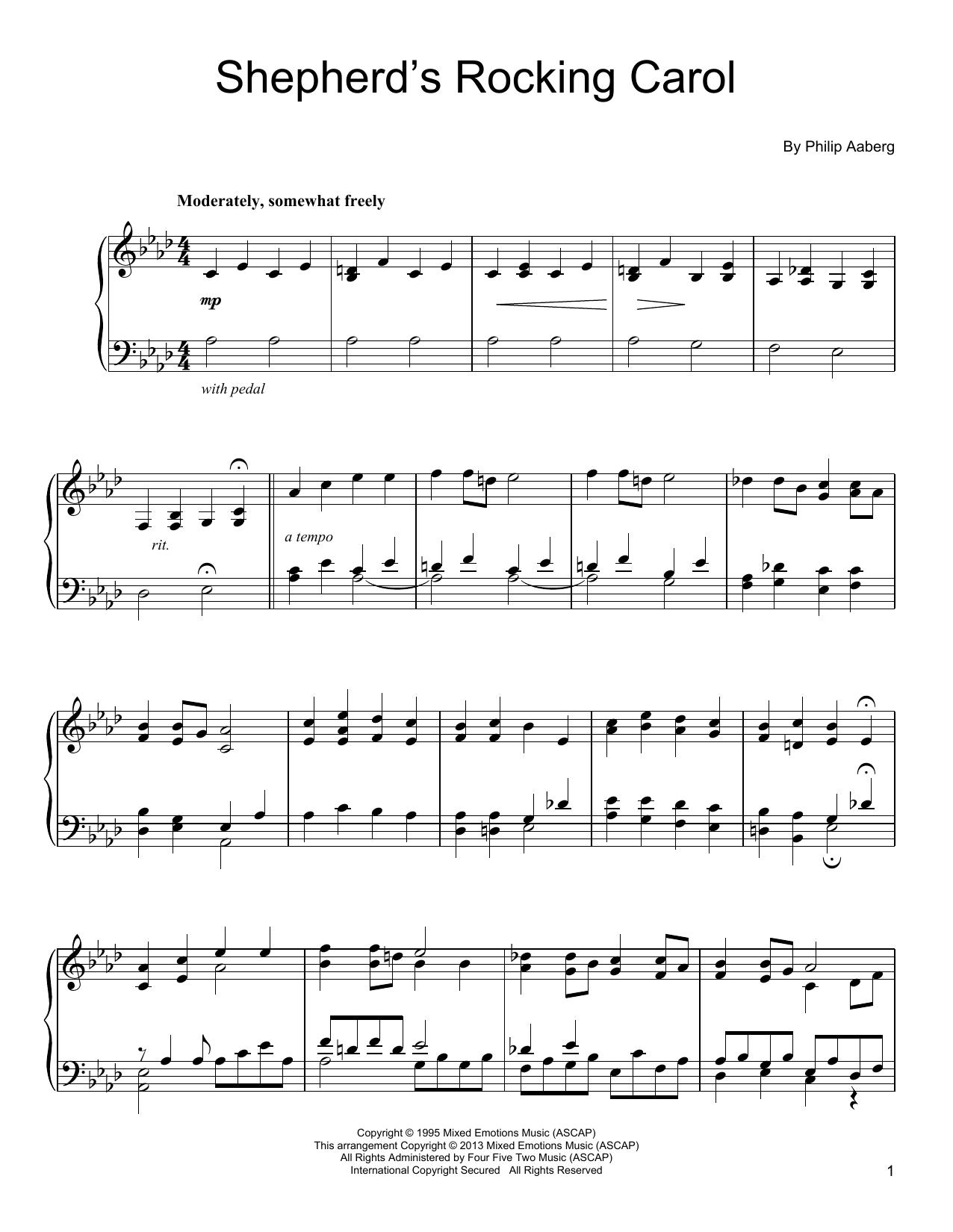 Philip Aaberg Shepherd's Rocking Carol sheet music notes and chords. Download Printable PDF.