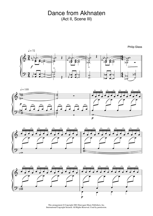 Philip Glass Dance from Akhnaten, Act 2 Scene 3 sheet music notes and chords