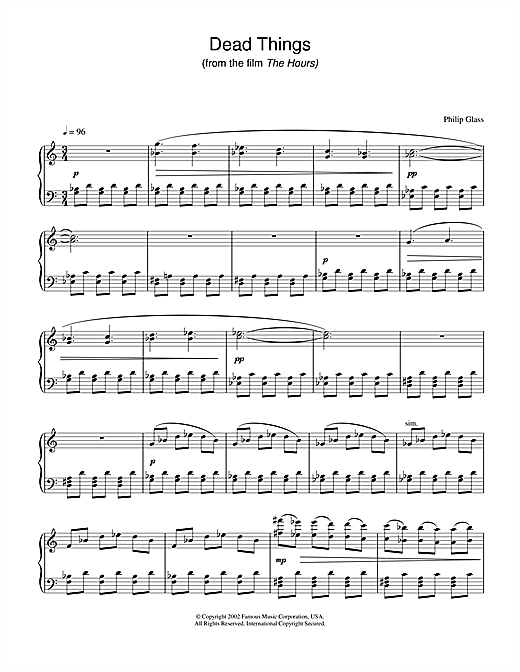 Philip Glass Dead Things (from The Hours) sheet music notes and chords