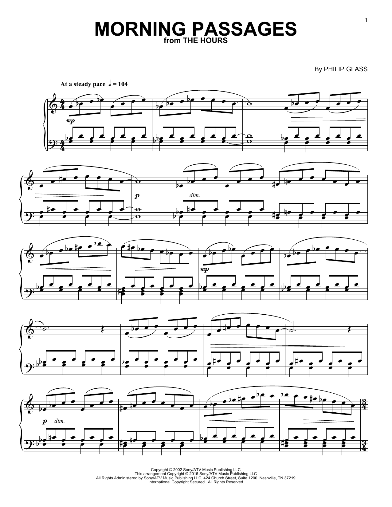 Philip Glass Morning Passages sheet music notes and chords