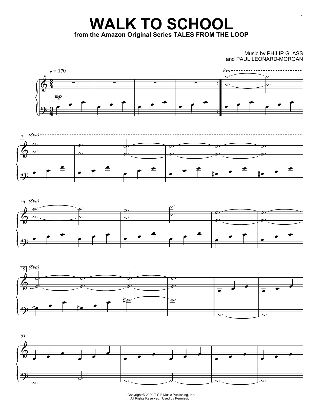 Philip Glass and Paul Leonard-Morgan Walk To School (from Tales from the Loop) sheet music notes and chords. Download Printable PDF.
