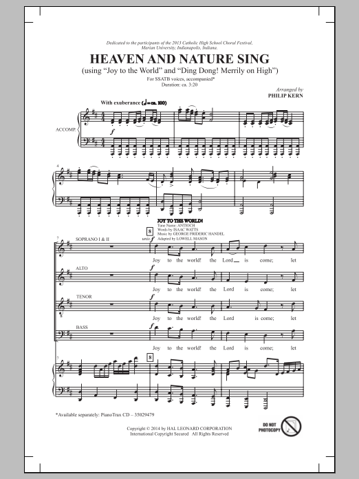 Philip Kern Heaven And Nature Sing sheet music notes and chords. Download Printable PDF.
