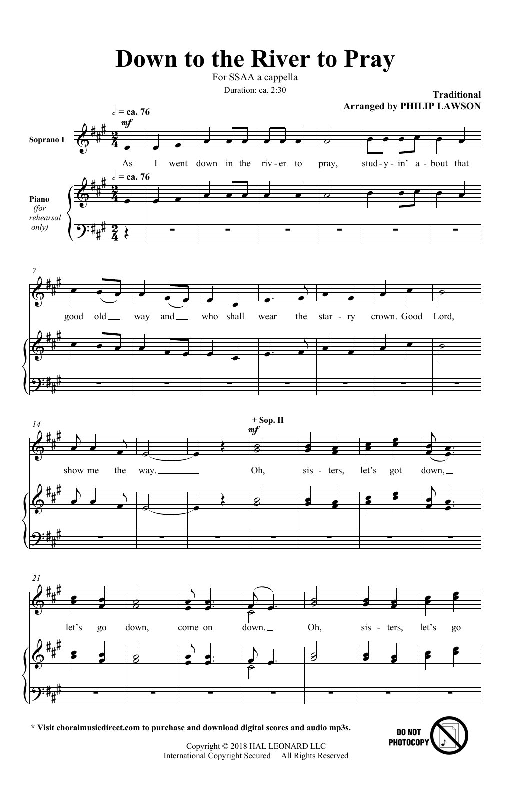 Philip Lawson Down To The River To Pray sheet music notes and chords. Download Printable PDF.