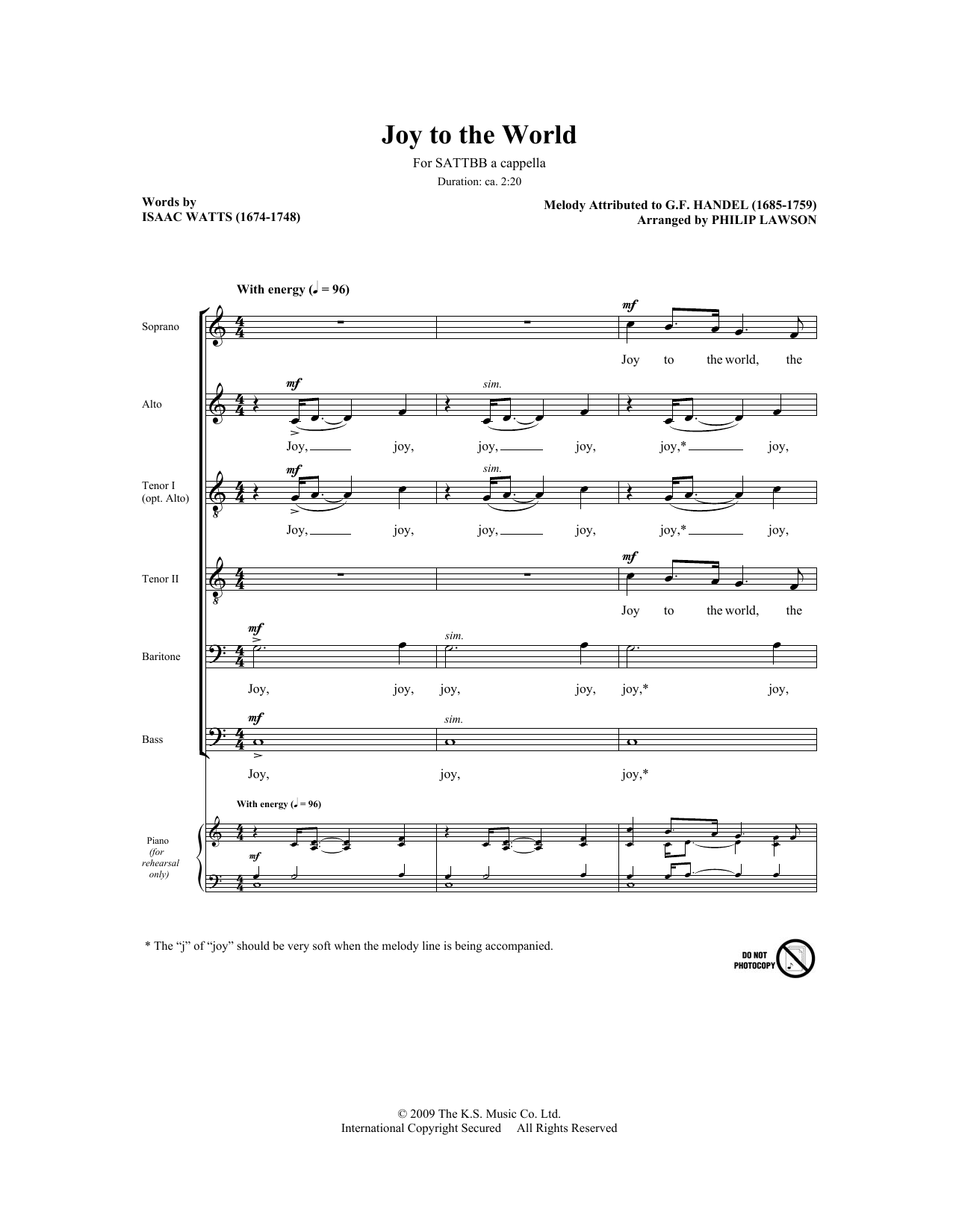 Philip Lawson Joy To The World sheet music notes and chords. Download Printable PDF.