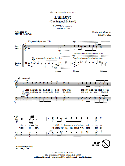 Philip Lawson Lullabye (Goodnight, My Angel) sheet music notes and chords. Download Printable PDF.