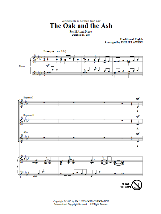Traditional The Oak And The Ash (arr. Philip Lawson) sheet music notes and chords. Download Printable PDF.