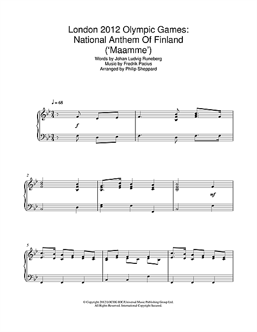 Philip Sheppard London 2012 Olympic Games: National Anthem Of Finland ('Maamme') sheet music notes and chords