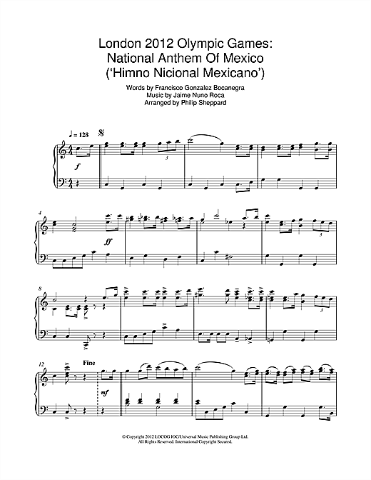 Philip Sheppard London 2012 Olympic Games: National Anthem Of Mexico ('Himno Nicional Mexicano') sheet music notes and chords. Download Printable PDF.