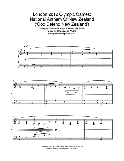 Philip Sheppard London 2012 Olympic Games: National Anthem Of New Zealand ('God Defend New Zealand') sheet music notes and chords