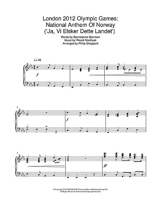 Philip Sheppard London 2012 Olympic Games: National Anthem Of Norway ('Ja, Vi Elsker Dette Landet') sheet music notes and chords. Download Printable PDF.