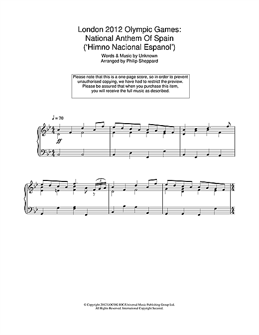 Philip Sheppard London 2012 Olympic Games: National Anthem Of Spain ('Himno Nacional Espanol') sheet music notes and chords. Download Printable PDF.