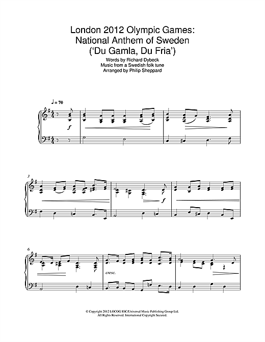 Philip Sheppard London 2012 Olympic Games: National Anthem Of Sweden ('Du Gamla, Du Fria') sheet music notes and chords