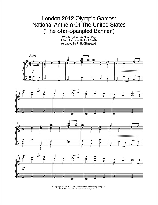 Philip Sheppard London 2012 Olympic Games: National Anthem Of The United States ('The Star-Spangled Banner') sheet music notes and chords. Download Printable PDF.