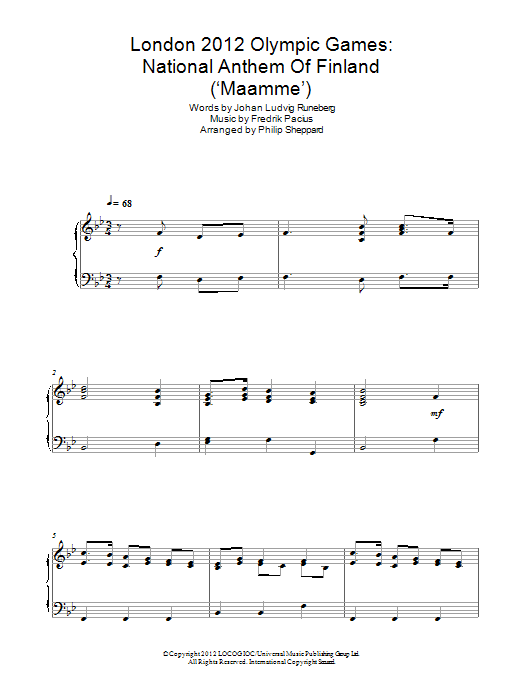 Philip Sheppard London 2012 Olympic Games: National Anthem Of Finland ('Maamme') sheet music notes and chords. Download Printable PDF.