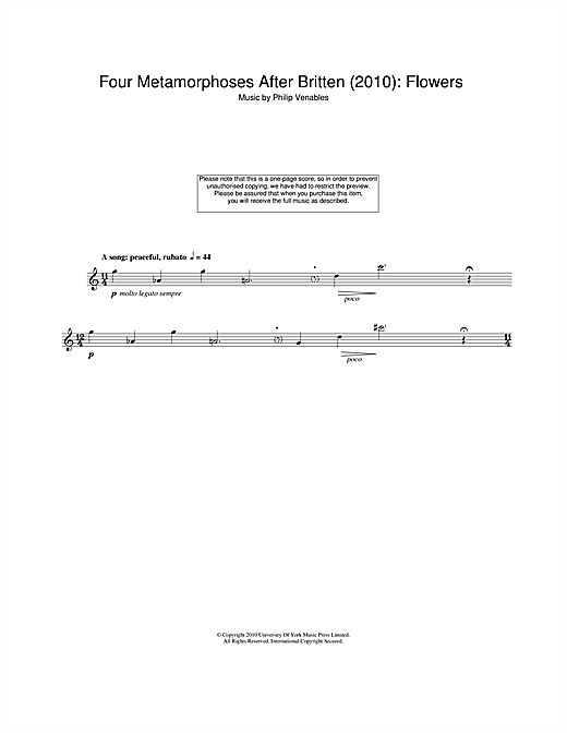 Philip Venables Four Metamorphoses After Britten (2010): Flowers sheet music notes and chords