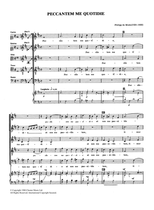 Philippe de Monte Peccantem Me Quotidie sheet music notes and chords. Download Printable PDF.