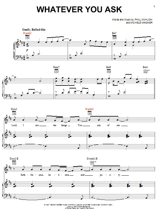 Phill McHugh Whatever You Ask sheet music notes and chords. Download Printable PDF.