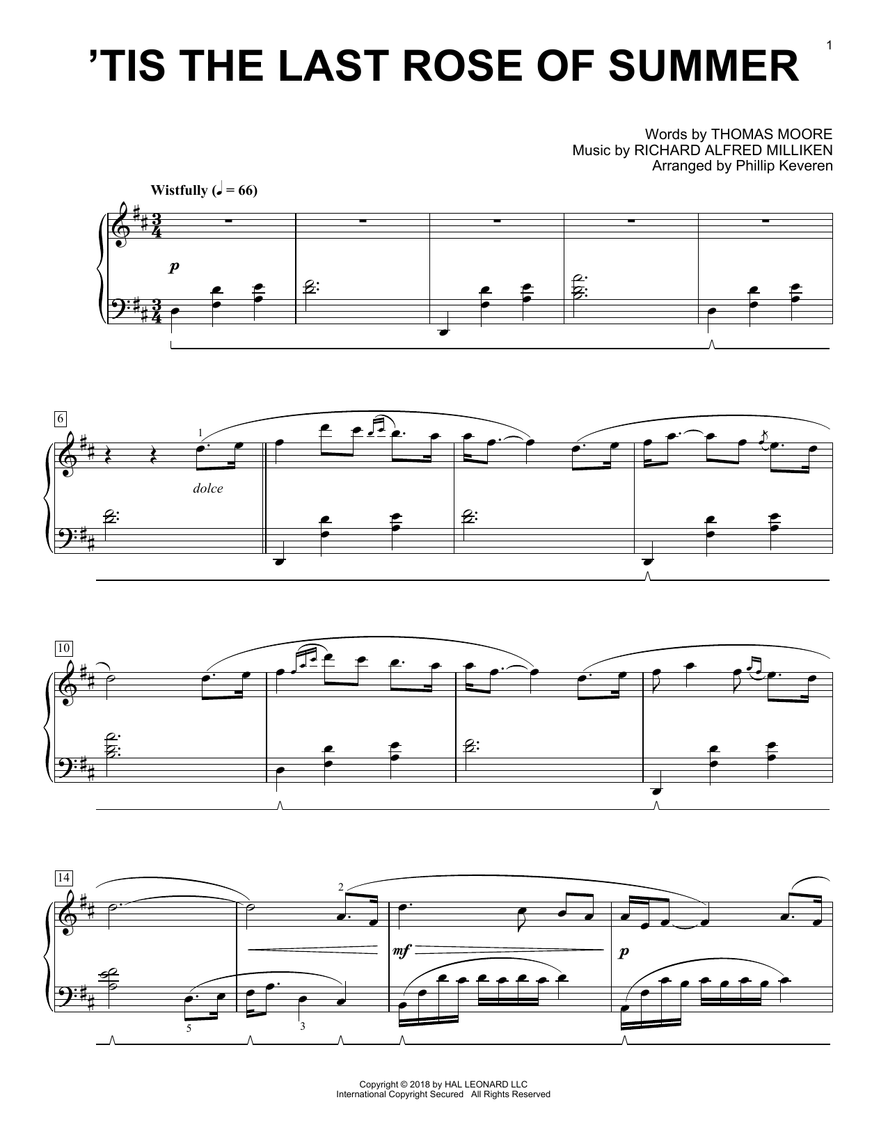 Phillip Keveren 'Tis The Last Rose Of Summer sheet music notes and chords. Download Printable PDF.