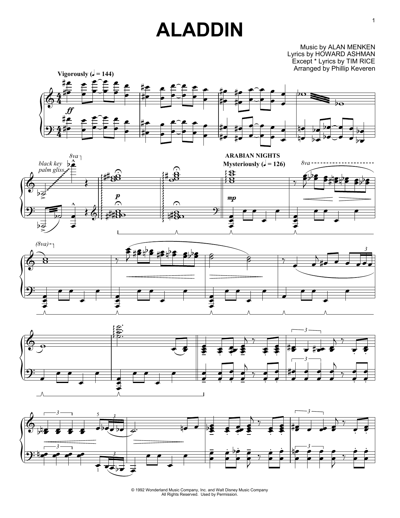 Phillip Keveren Aladdin Medley sheet music notes and chords