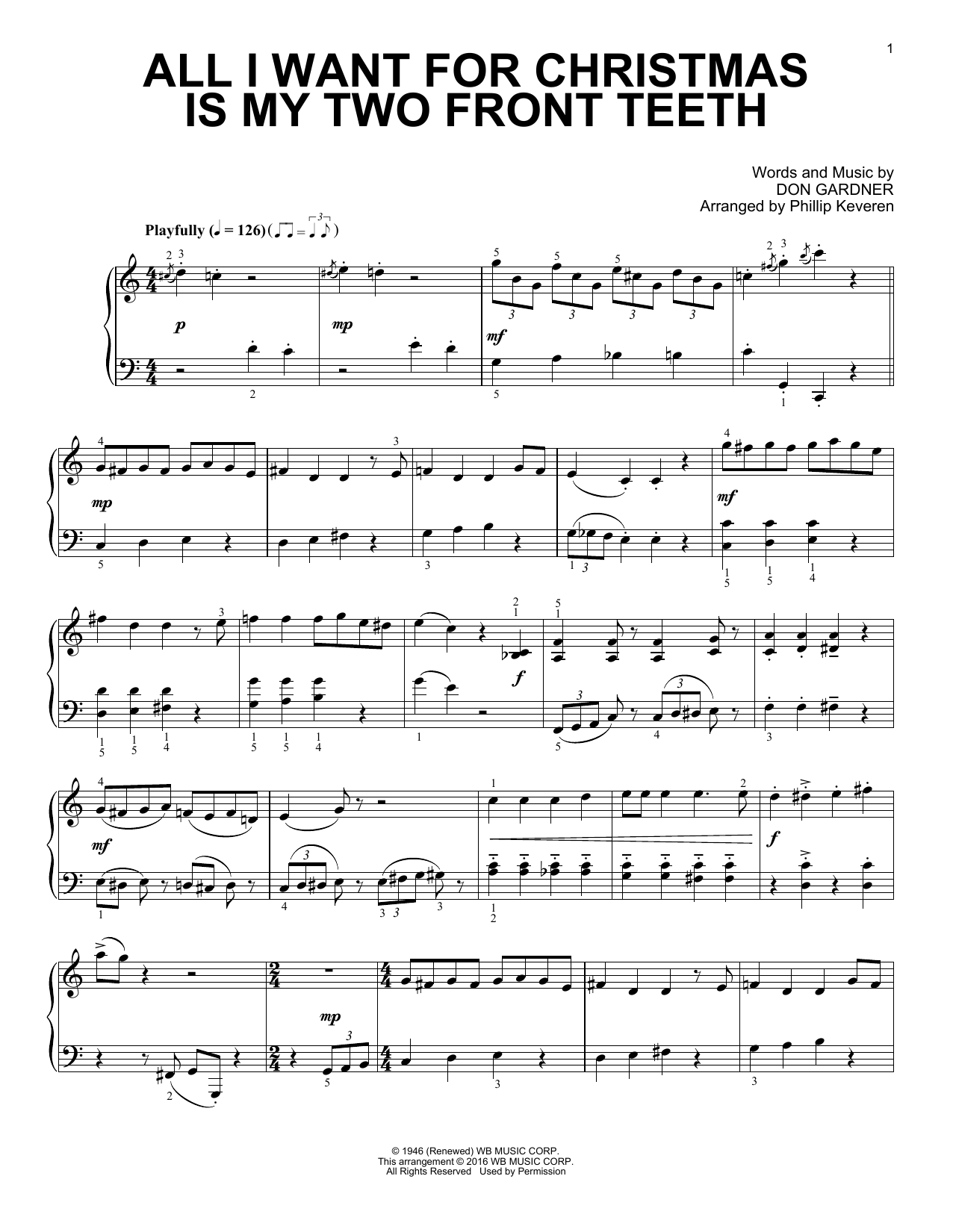 Phillip Keveren All I Want For Christmas Is My Two Front Teeth sheet music notes and chords