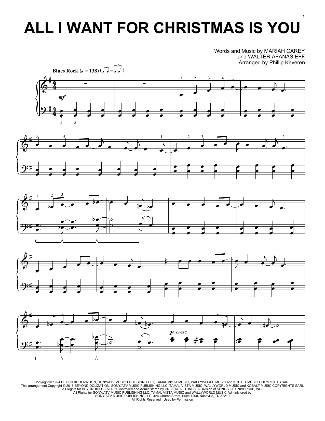 Phillip Keveren All I Want For Christmas Is You sheet music notes and chords