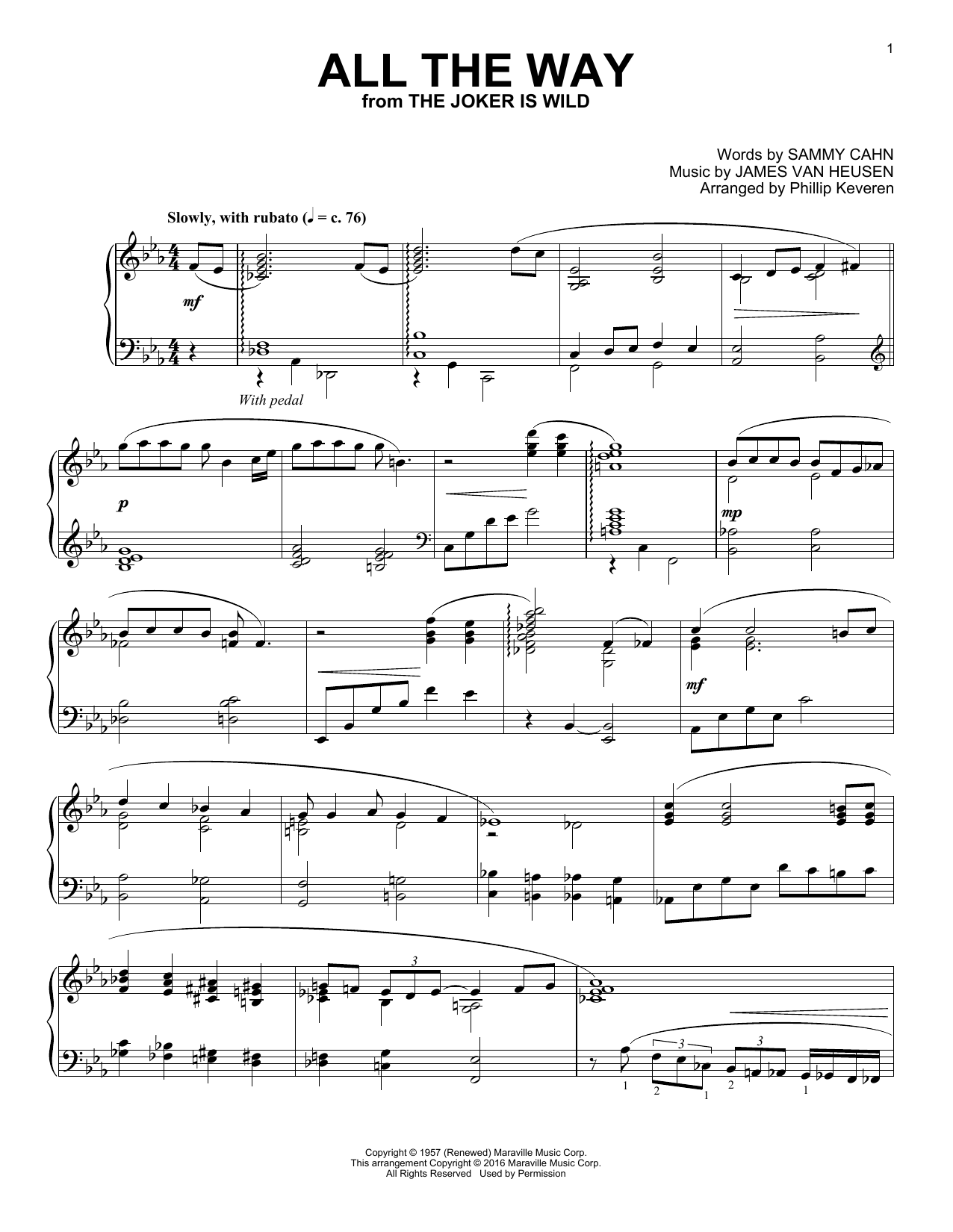 Phillip Keveren All The Way sheet music notes and chords. Download Printable PDF.