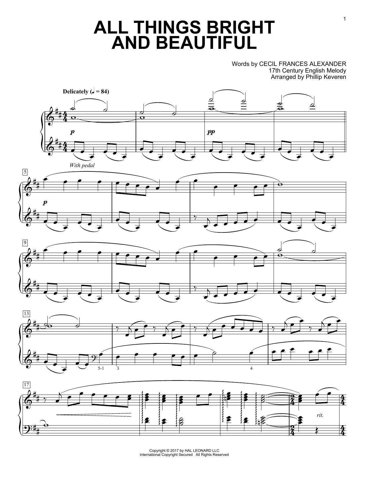 Phillip Keveren All Things Bright And Beautiful sheet music notes and chords. Download Printable PDF.