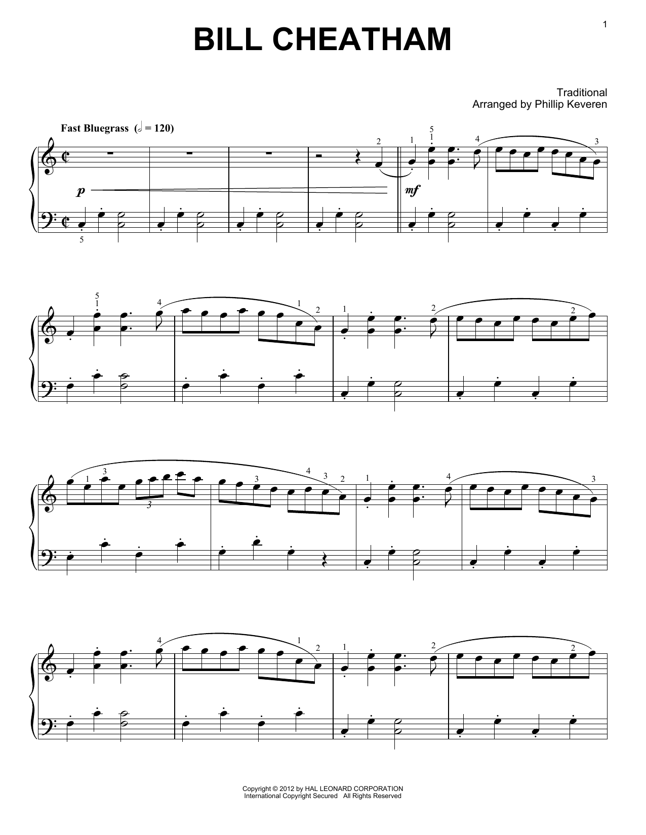 Phillip Keveren Bill Cheatham sheet music notes and chords. Download Printable PDF.