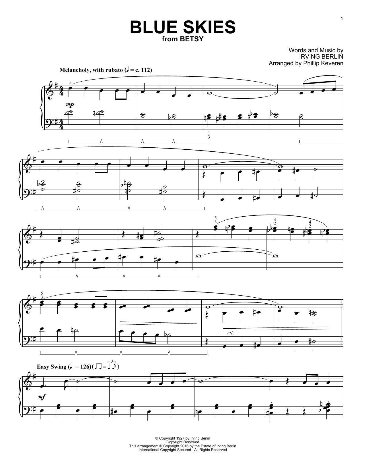 Phillip Keveren Blue Skies sheet music notes and chords