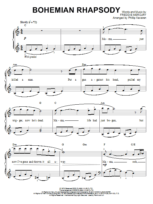 Phillip Keveren Bohemian Rhapsody sheet music notes and chords