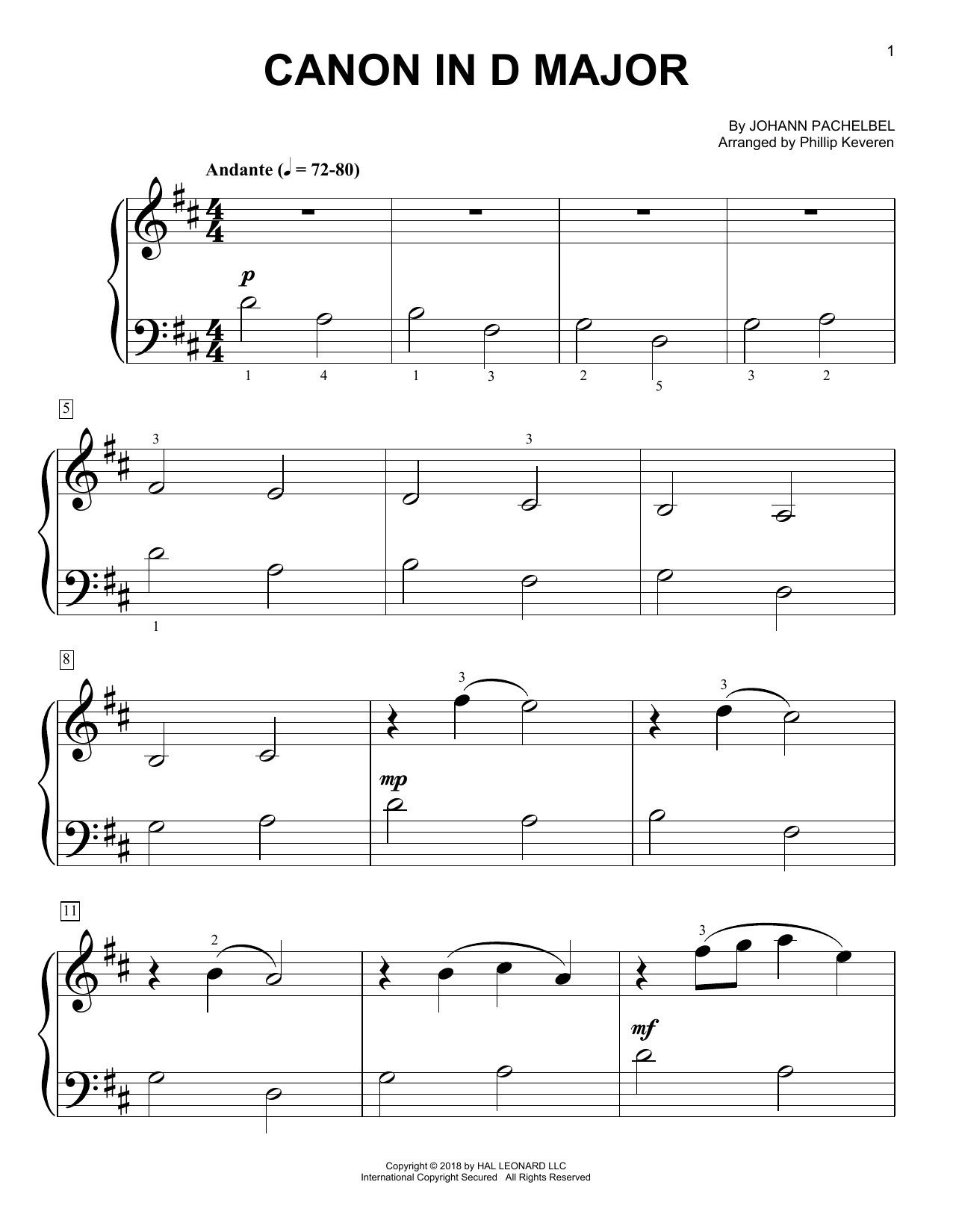 Phillip Keveren Canon In D Sheet Music Notes, Chords   Download Printable  Big Note Piano PDF Score   SKU 15