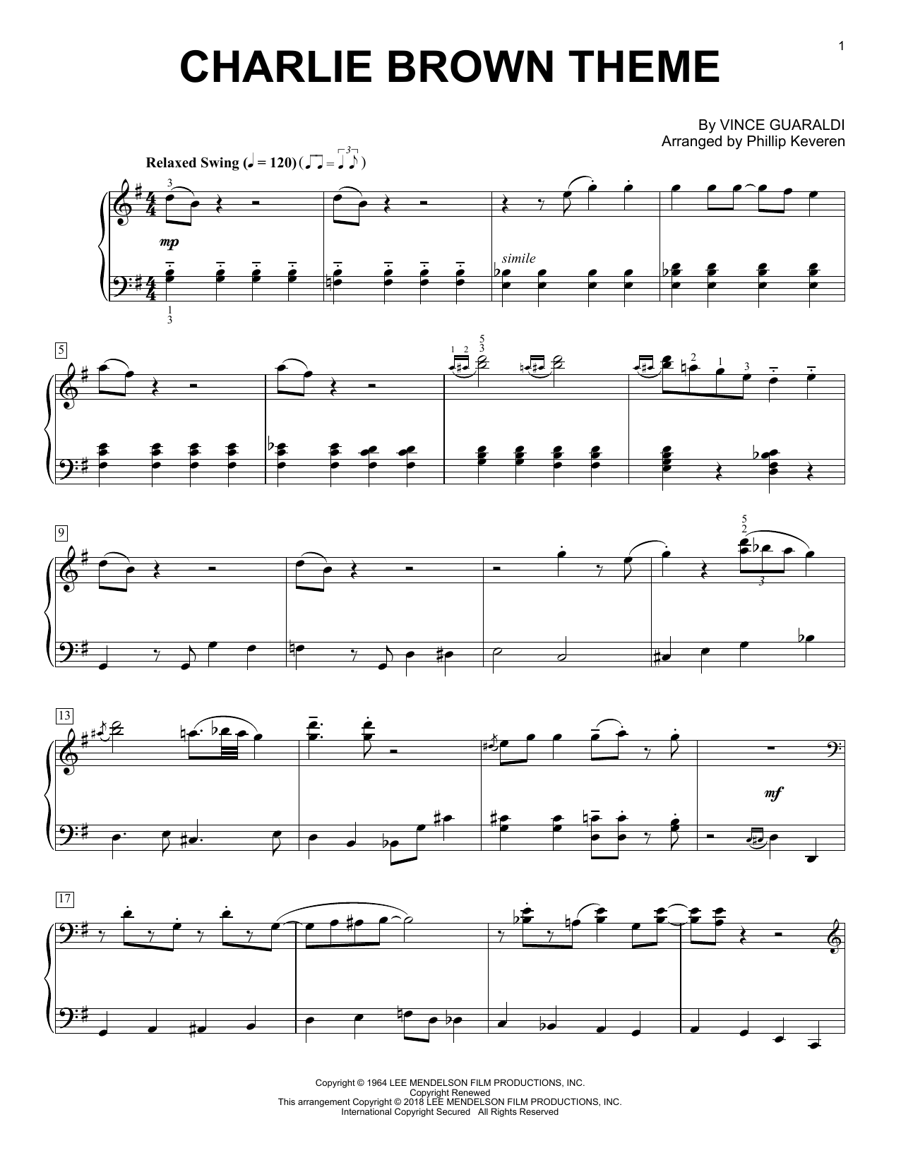 Phillip Keveren Charlie Brown Theme sheet music notes and chords