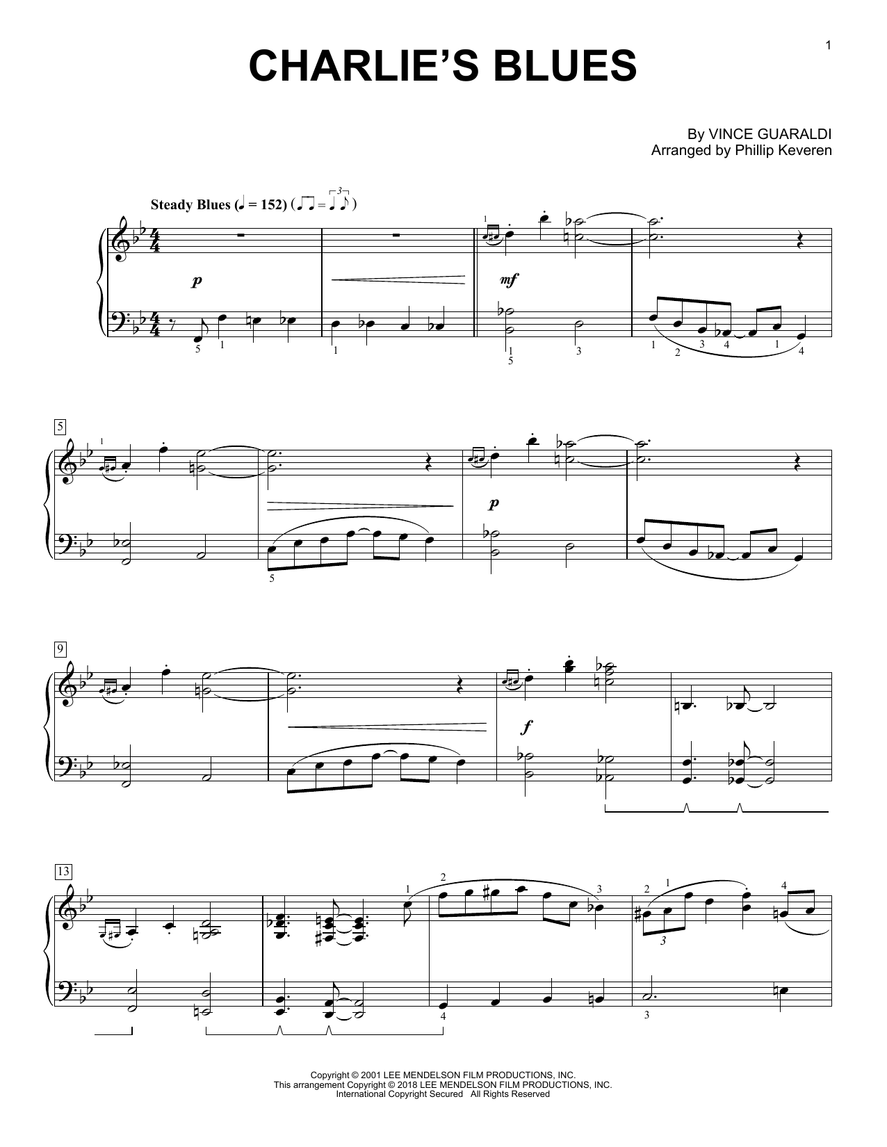 Phillip Keveren Charlie's Blues sheet music notes and chords. Download Printable PDF.